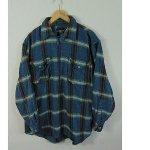 Vintage Salmon River Half Zip Wool Flannel Shirt
